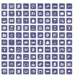 100 lending icons set grunge sapphire vector
