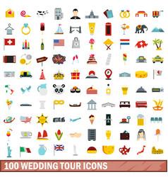 100 wedding tour icons set flat style vector