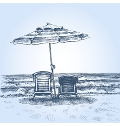 Sunbeds and umbrella on the beach Summer holiday vector image
