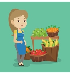 Friendly supermarket worker vector
