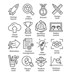 Business management icons in line style pack 28 vector