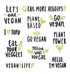 vegan signs set vector image