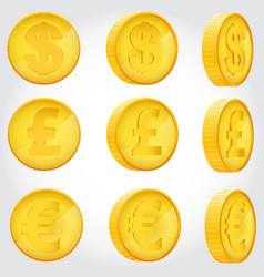 coin in different angles vector image