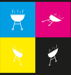 Barbecue simple sign  white icon with vector