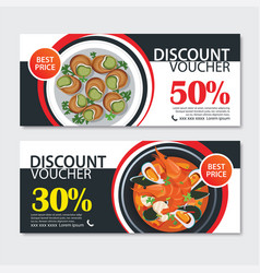 discount voucher french food template design set vector image