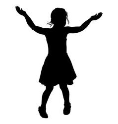 Silhouette of dancing girl vector