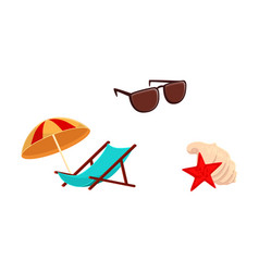 lounge chair beach umbrella sunglasses shells vector image