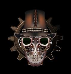 Steampunk skull wearing top hat vector image