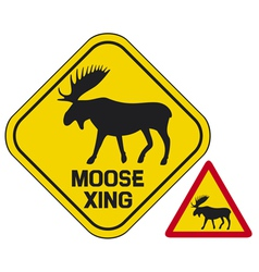 Moose crossing road sign vector