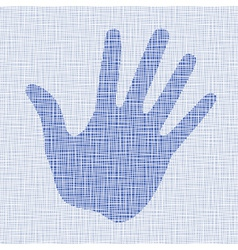 Blue hand print on canvas texture vector