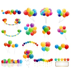 Color glossy balloons mega set vector