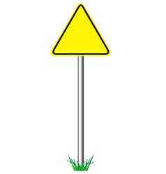 Yellow warning information road signs with grass vector
