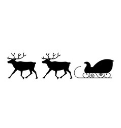Sled and reindeers vector