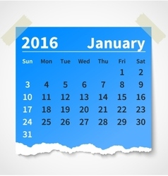 Calendar january 2016 colorful torn paper vector