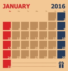 January 2016 monthly calendar template vector