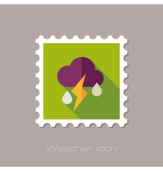 Cloud rain lightning flat stamp weather vector
