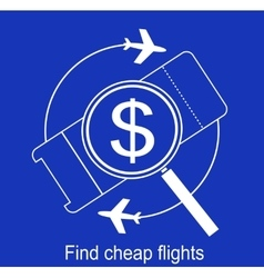 Search the airline tickets icon vector