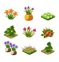 Flash Game Gardening Elements Set vector image
