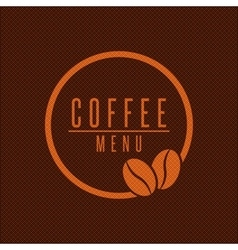 Coffee menu logo beans round frame brown style vector