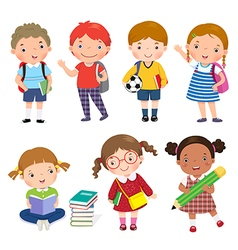 Back to school Set of school kids in education vector image