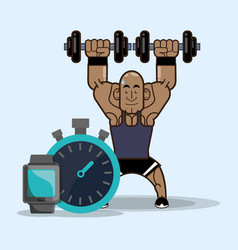 Bodybuilder fitness weight dumbbell chronometer vector