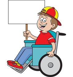 Cartoon wheelchair boy sign vector