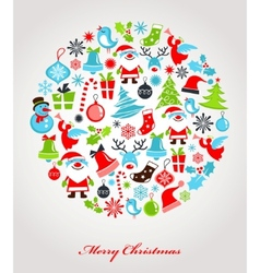 christmas background with set of icons vector image