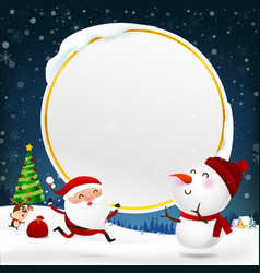christmas snowman santa claus and reindeer vector image vector image