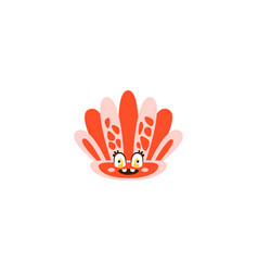 cute seahell funny sea creature hand drawn vector image