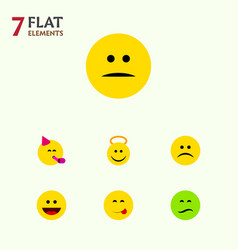 Flat icon expression set of frown laugh vector