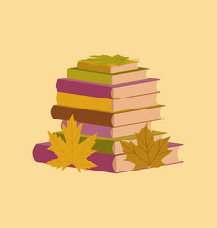 Flat icon on stylish background stack of books vector