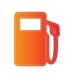 Gas pump sign orange applique isolated vector