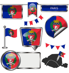 glossy icons with flag of paris vector image