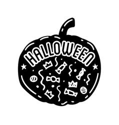 Happy Halloween design Black badge and label vector image