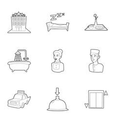 Inn icons set outline style vector