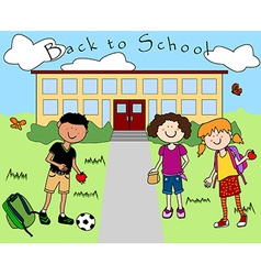 Kids going back to school vector image vector image