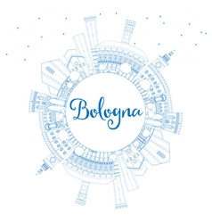 Outline bologna skyline with blue landmarks vector