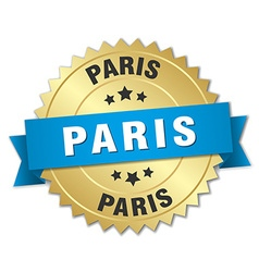Paris round golden badge with blue ribbon vector image