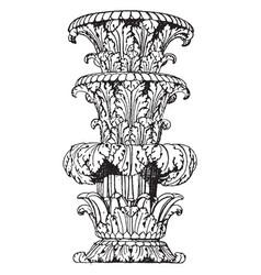 Part of shaft foliated state-candelabrum vintage vector