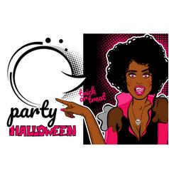 pop art halloween vampire sexy woman vector image