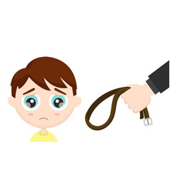 sad frightened child and a parents hand vector image vector image
