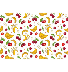 seamless pattern with cherries and bananas vector image vector image