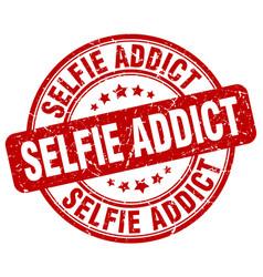 Selfie addict red grunge stamp vector