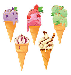 set of ice cream cones with glaze chocolate vector image vector image