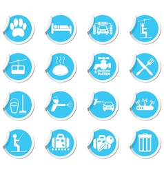 Set of services icons on blue label vector