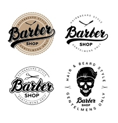 Set of vintage barber shop badges emblems labels vector image
