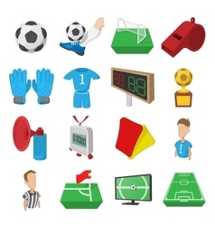 Soccer cartoon icons set vector