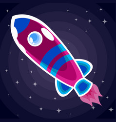 violet with blue stripes a space rocket with a vector image