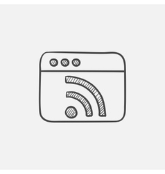 Browser window with wi fi sign sketch icon vector