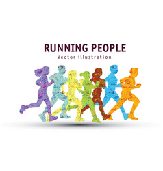 people run sport marathon color silhouette vector image
